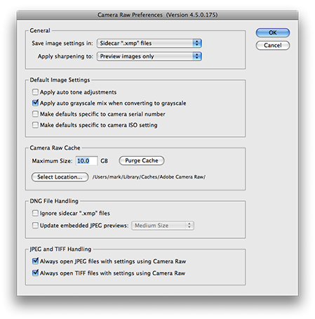 Adjusting the cache size for Adobe Camera Raw 4.5