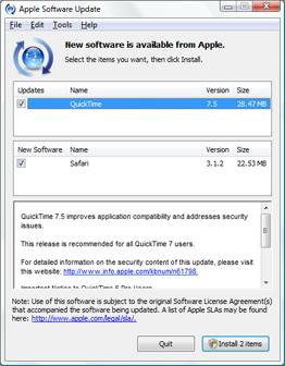 Apple Software Update pestering for installation of Safari on Windows