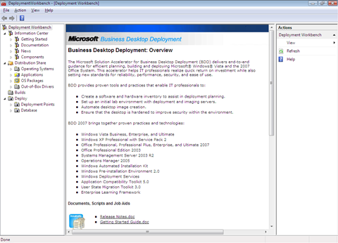 Screenshot of the BDD 2007 Workbench