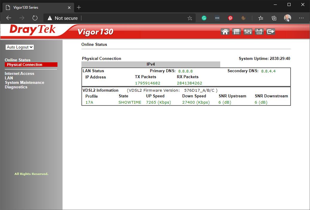 DrayTek Vigor 130 modem online status
