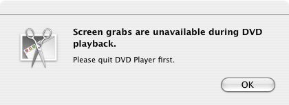 Error when attempt to screen grab from DVD Player
