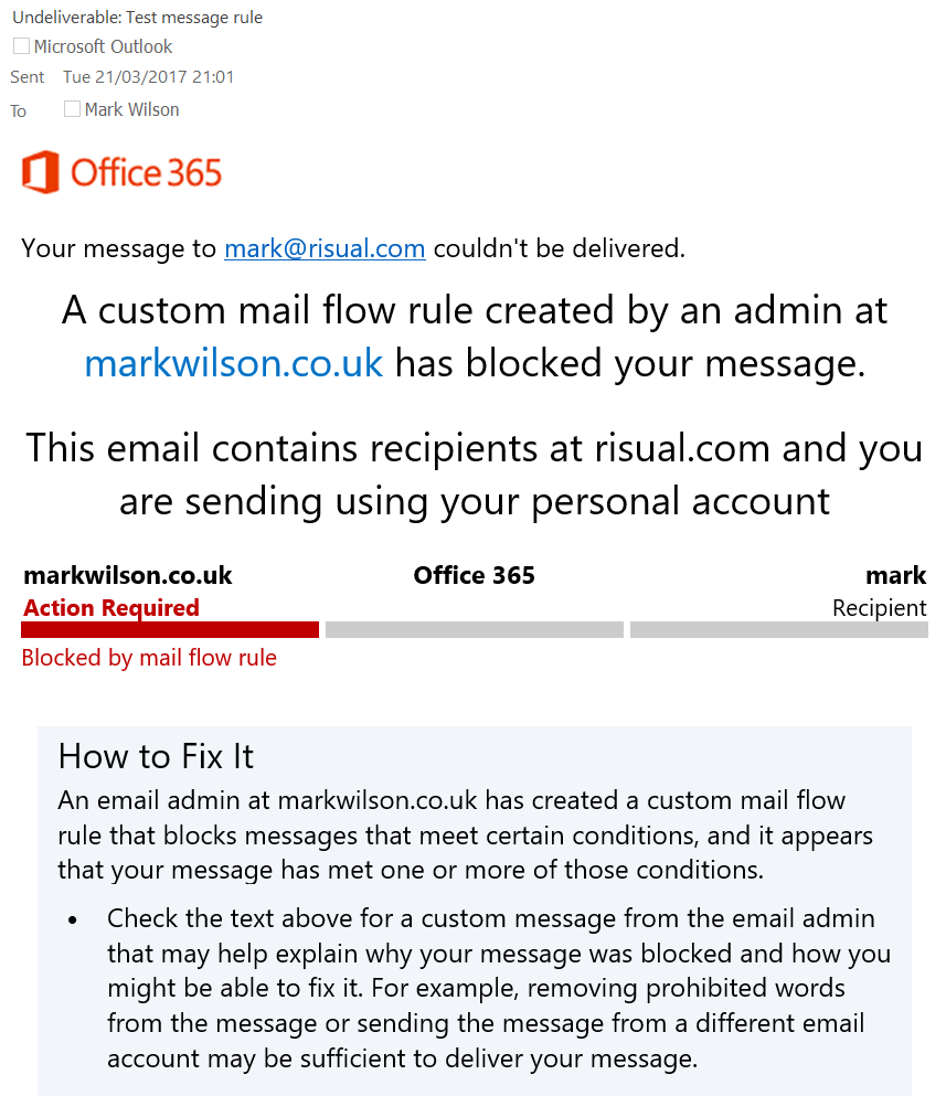 Custom mail flow rule blocks email sent to work from personal mailbox