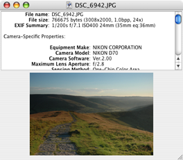 Simple EXIF Viewer for Mac OS X