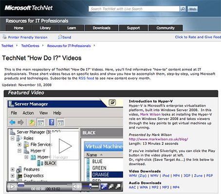 One of my videos, featured on the Microsoft TechNet website