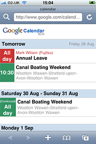 Multiple calendars viewed in Google Calendar on an iPhone