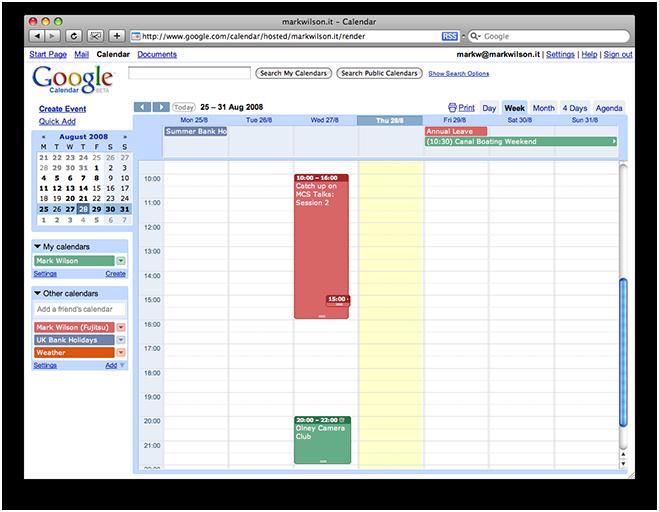 Multiple calendars viewed in Google Calendar