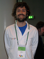 Google employee with labcoat at Google Developer Day 2008