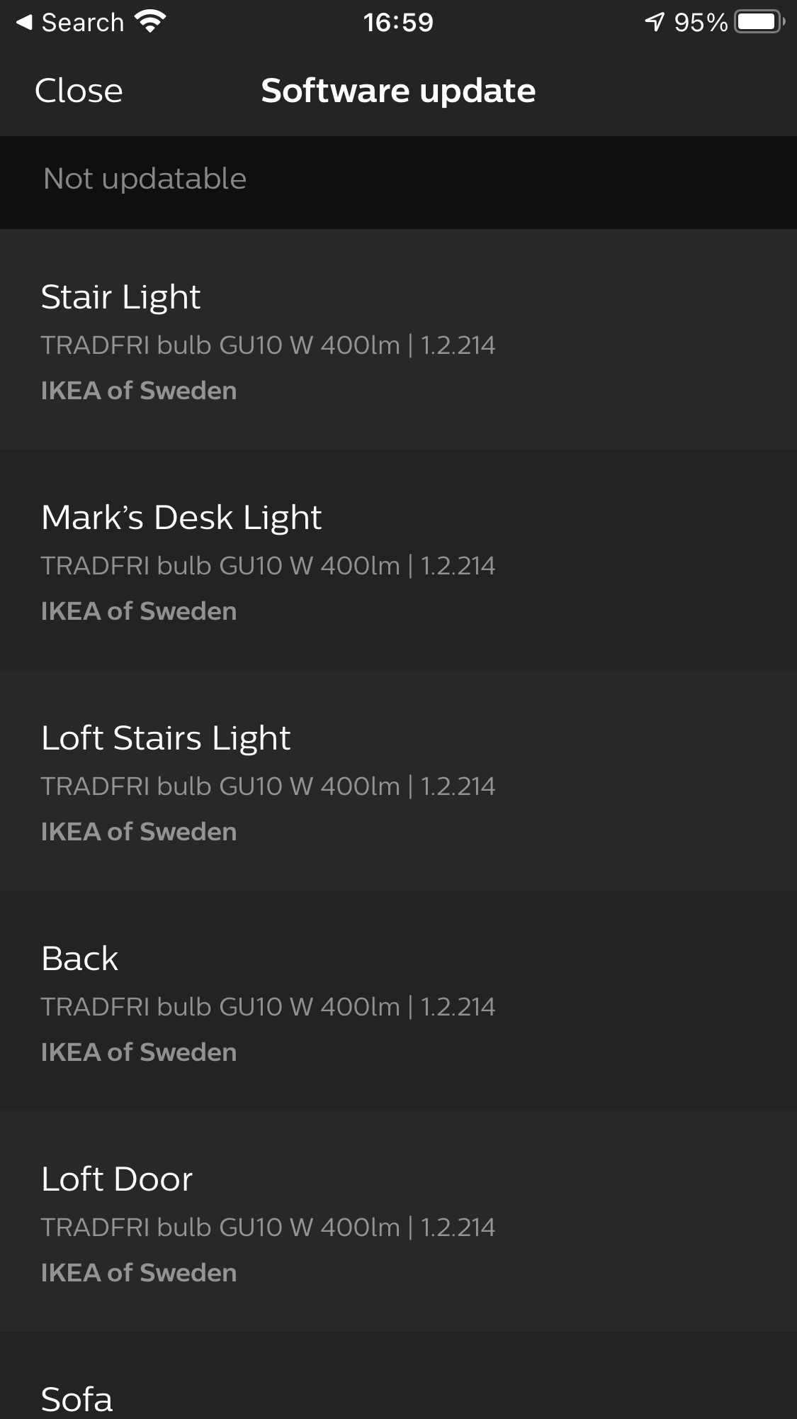 Software update in the Philips Hue app (Ikea Trådfri bulbs)