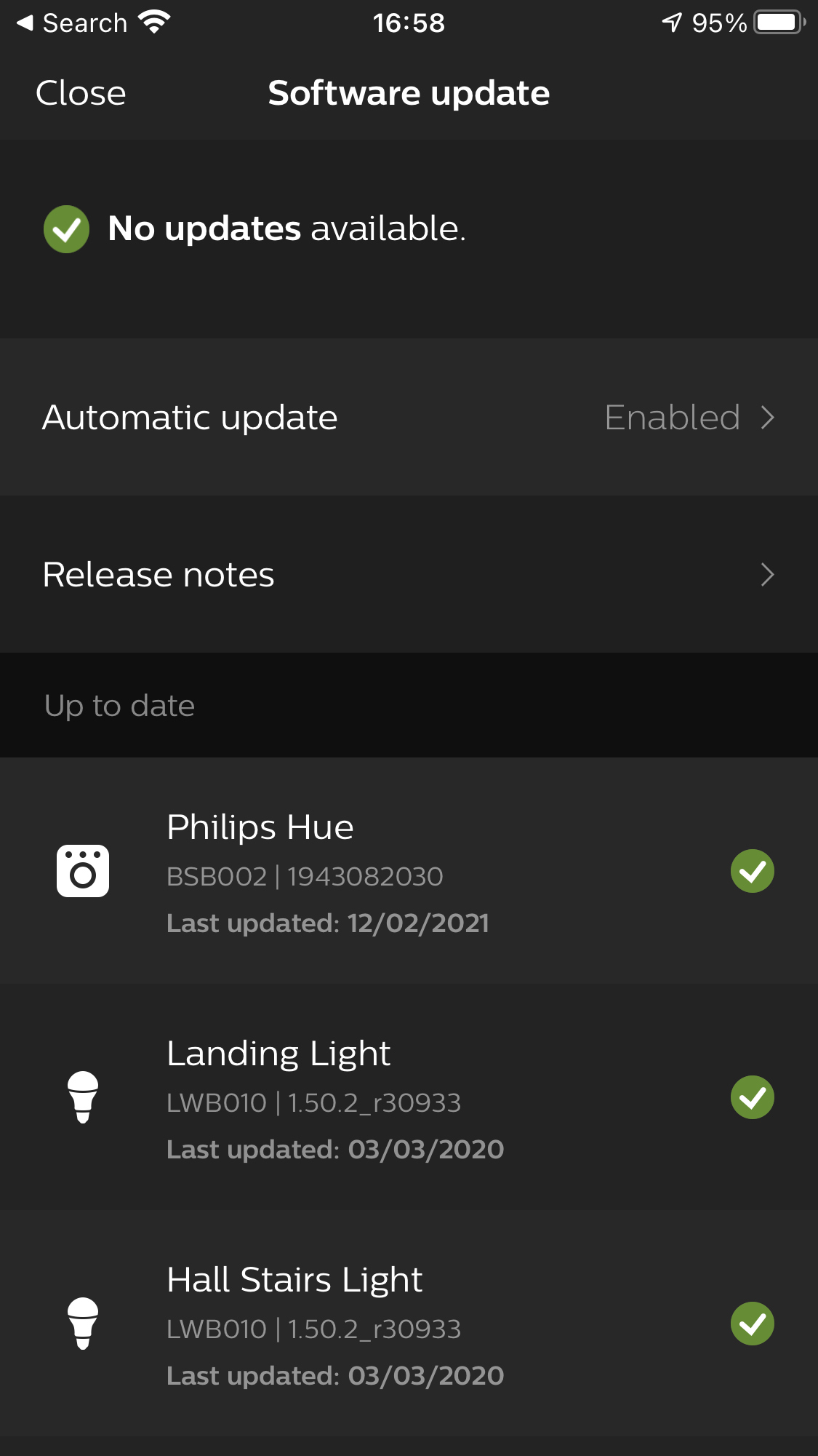 Software update in the Philips Hue app (Hue bulbs)