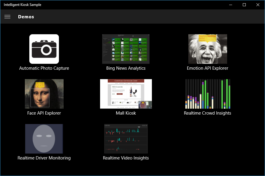 Demos in the Azure Cognitive Services Sample app