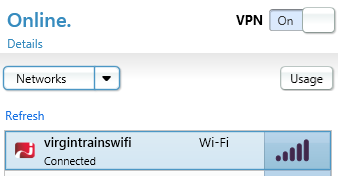Connected to Virgin Trains Wi-Fi using iPass