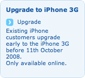 Clip from the O2 website explaining that iPhone upgrade deals are only available online