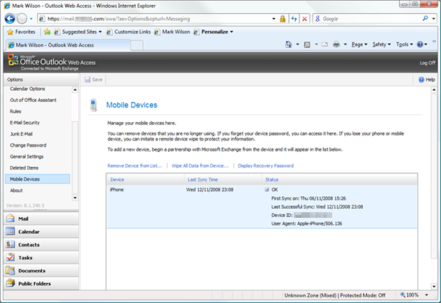 Mobile device view in Exchange Server 2007 web access - showing an iPhone