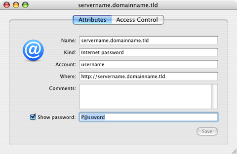 Password visible in the Mac OS X Keychain access utility