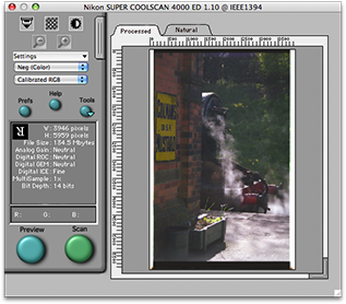 Nikon Scan showing a file size of 65.3MB with a 3946x5782 image