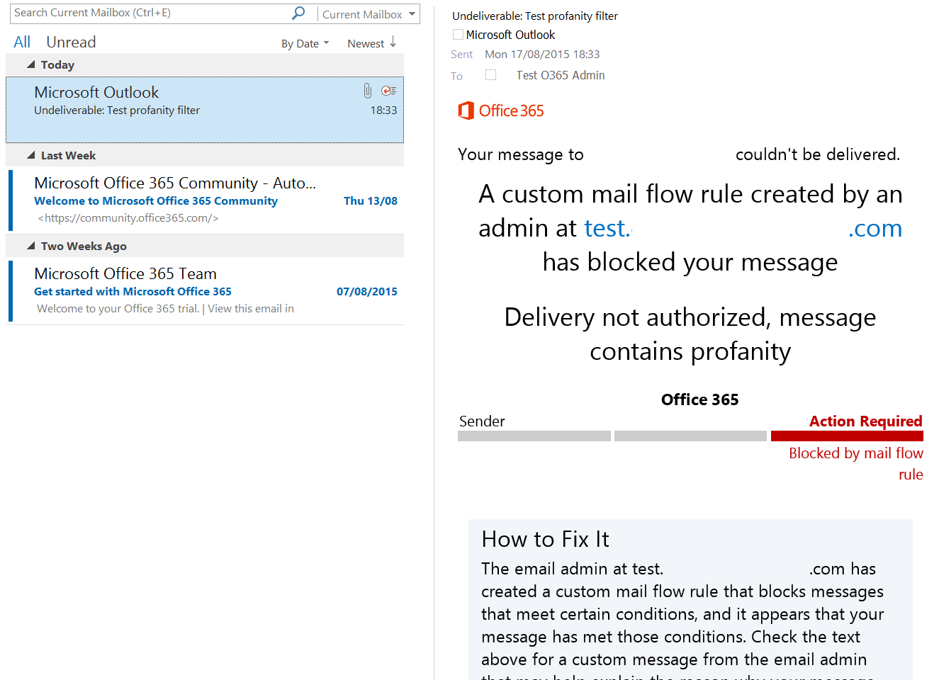 NDR from message blocked by Office 365 profanity filter