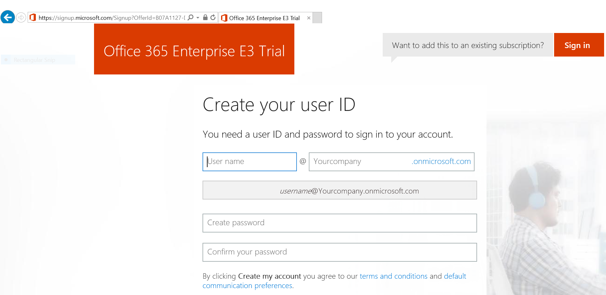 Office 365 trial subscription sign-up
