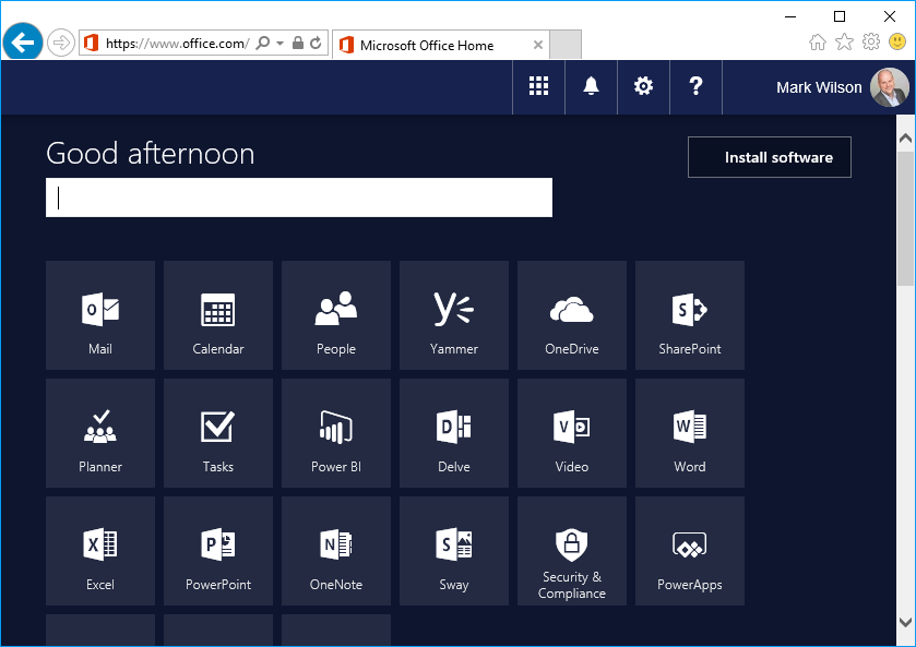 Office 365 fonts installed - icons visible