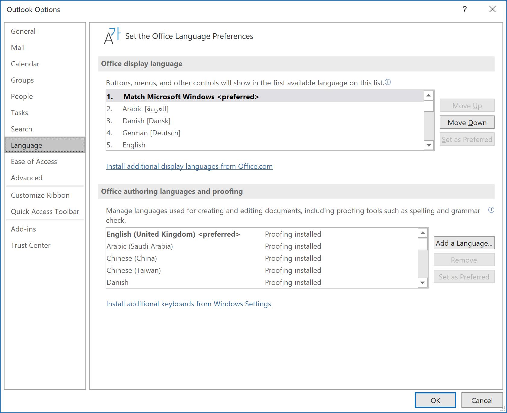 Office Language Preferences as originally set