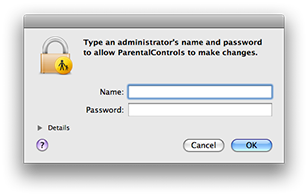 Parental Controls requesting authentication on Mac OS X 10.5