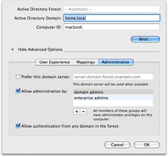 Mac OS X 10.5 Directory Utility - Active Directory Administrative options