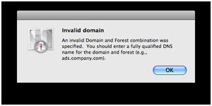 Mac OS X 10.5 Directory Utility - Invalid Domain error message