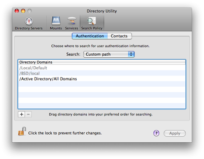 Mac OS X 10.5 Directory Utility - Search Policy Authentication