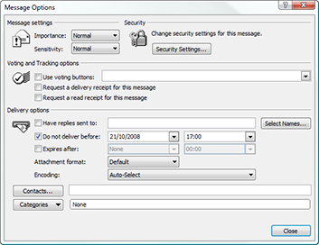Microsoft Office Outlook 2007 Message Options including Do not deliver before