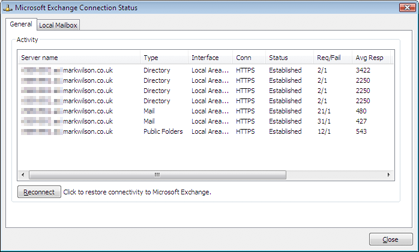 Using the Outlook 2007's RPC diagnostics to check connection status
