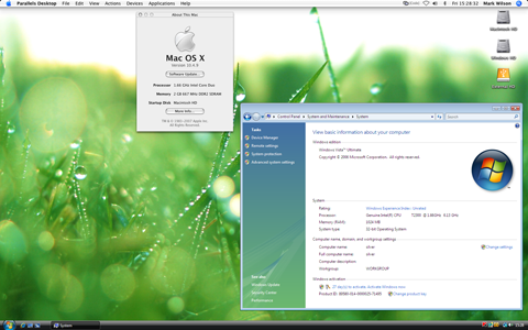 Parallels Desktop for Mac presenting Windows Vista applications alongside native Mac OS X Tiger applications