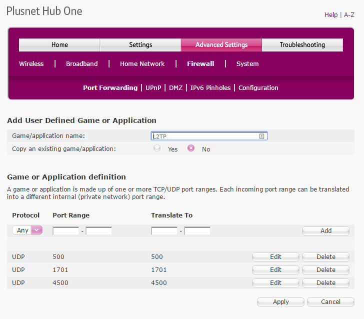 Creating an L2TP application in the PlusNet Hub One router firewall