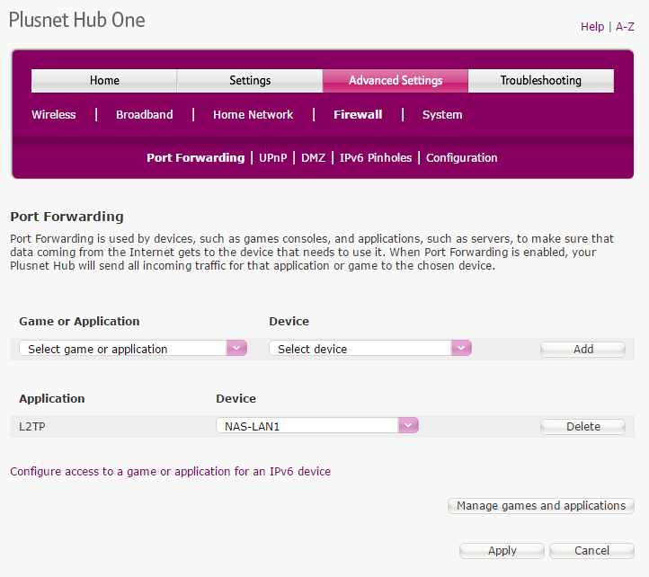 Port forwarding to L2TP in the PlusNet Hub One router firewall