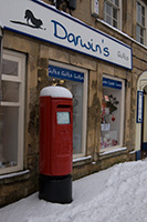 Image showing a Royal Mail postbox in the snow (underexposed)