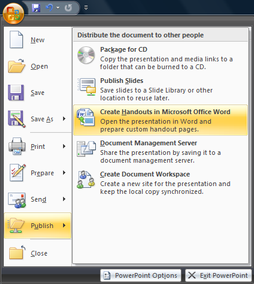 Publish handouts from PowerPoint to Word