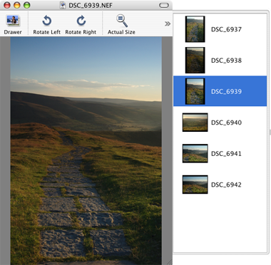 Previewing multiple images in Mac OS X