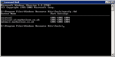 Using rpccfg to confirm the RPC proxy settings