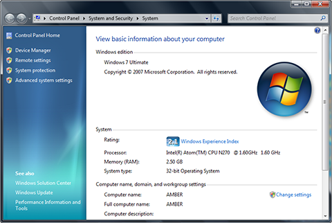 Windows 7 System Properties on Lenovo S10e after 2GB memory upgrade