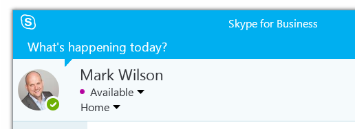Purple spot next to Skype for Business presence information