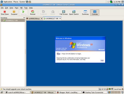 Windows XP in VMware Server running on Fedora Core 5