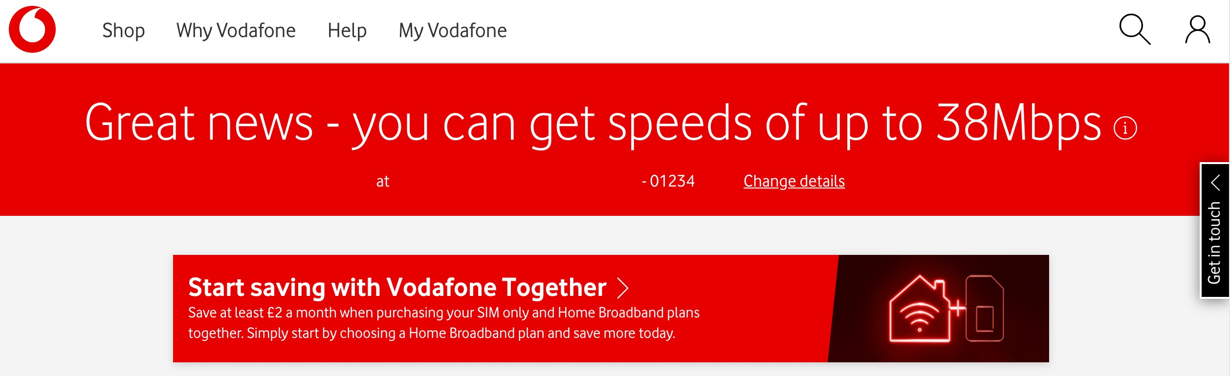 Vodafone's estimated broadband speed for my phone line.