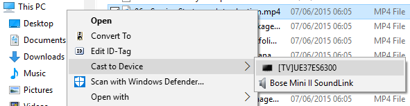 Cast to Device in Windows 10