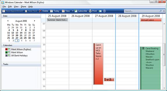 Multiple calendars in Windows Calendar