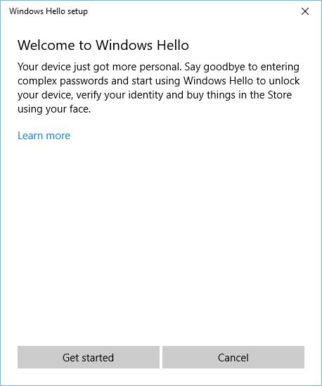 Windows Hello setup - welcome!
