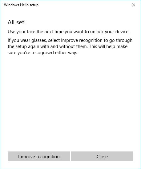 Windows Hello setup - all set!