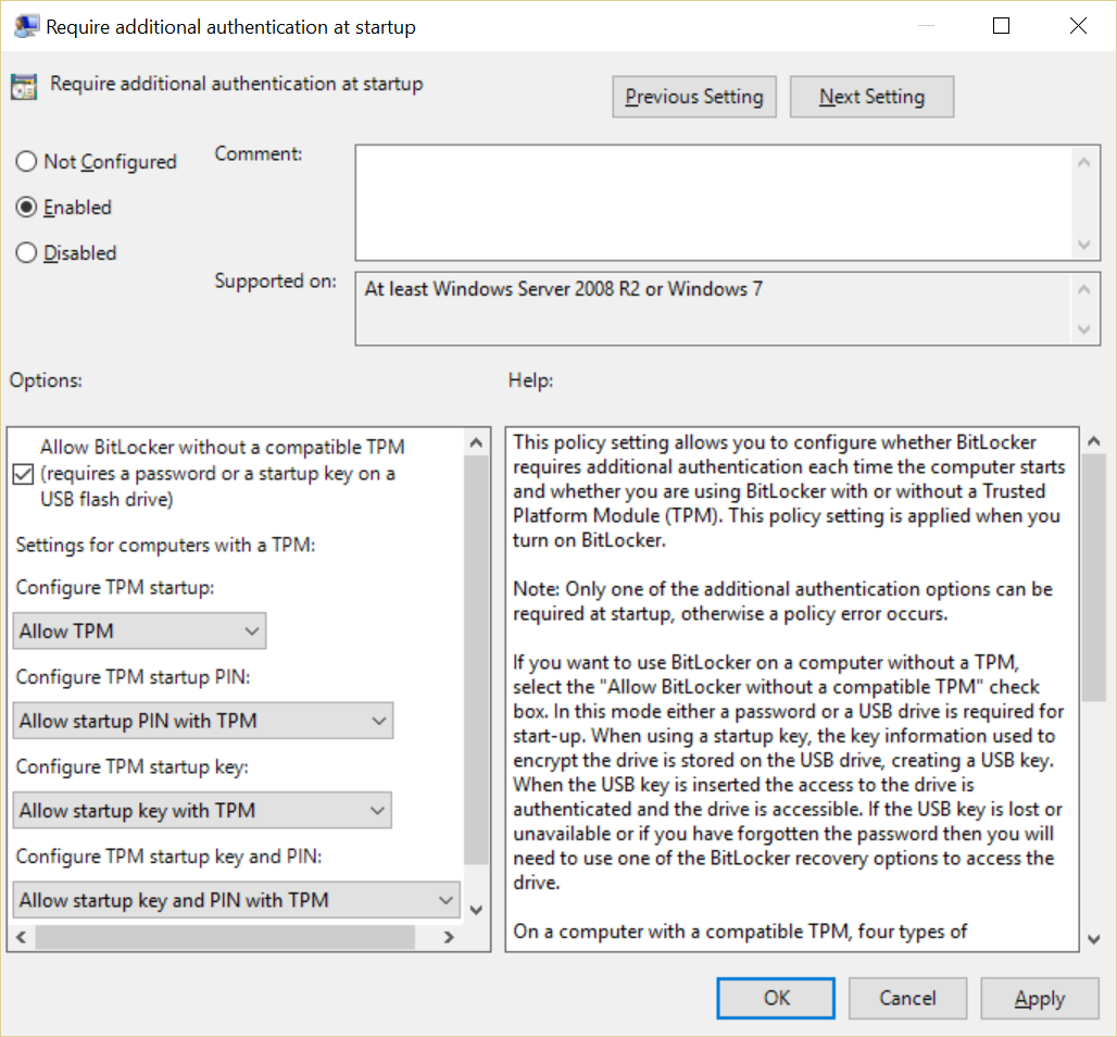 Allow BitLocker without a compatible TPM