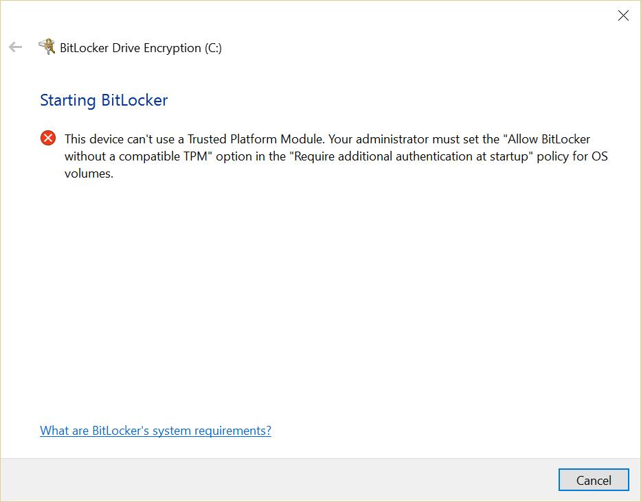 BitLocker error on PC without a trusted platform module