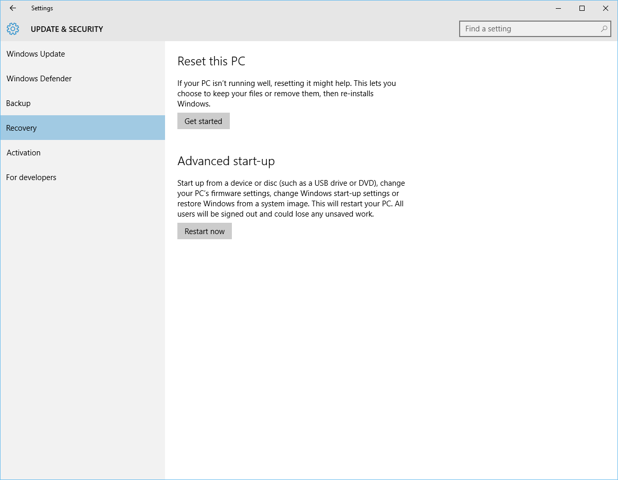 Windows 10 - Update and Security - Recovery
