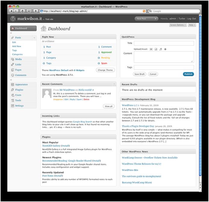 WordPress fresh out of the box (dashboard)